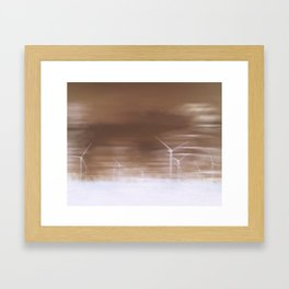 Ghostly wind turbines Framed Art Print