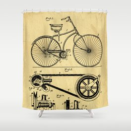 Bicyole Support Patent Drawing From 1890 Shower Curtain