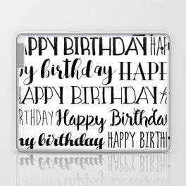 Happy Birthday | Black and White Pattern Laptop & iPad Skin
