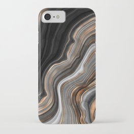 Elegant black marble with gold and copper veins iPhone Case
