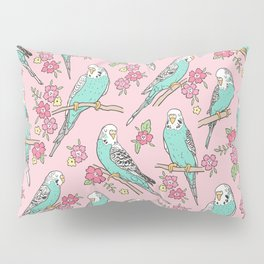 Budgie Birds With Blossom Flowers on Pink Pillow Sham
