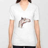 camel V-neck T-shirts featuring Camel by Ursula Rodgers