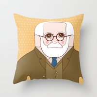 freud Throw Pillows featuring Sigmund Freud by Late Greats