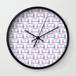 Mix of flag : france and israel 2 with color gradient Wall Clock