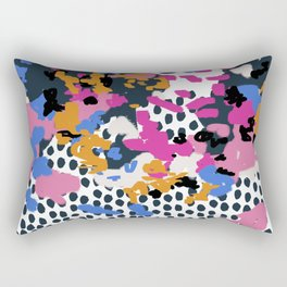 Kenzi - Flowers with Dots - Floral Abstract, graphic design print pattern Rectangular Pillow