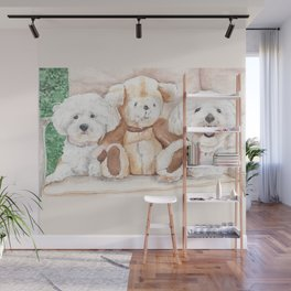 Two Bichons and A Friend Wall Mural