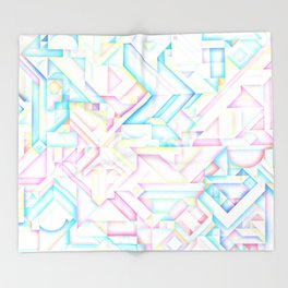 90s Inspired Print // GEOMETRIC PASTEL BRIGHT SHAPES PATTERN GRAPHIC DESIGN Throw Blanket