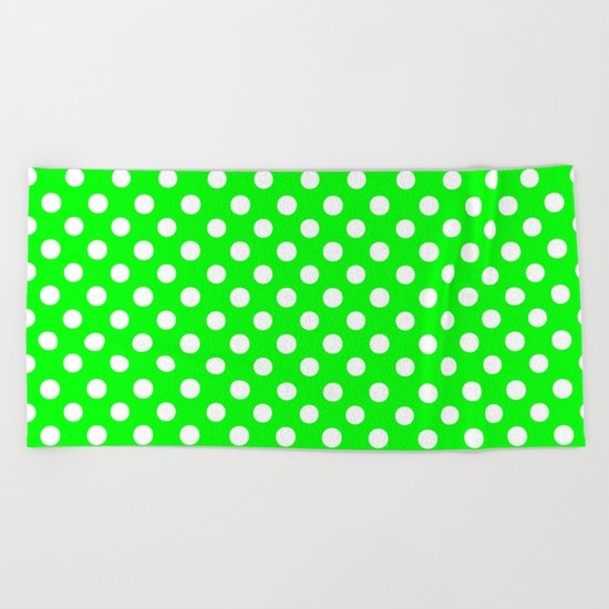 Polka Dots (White/Green) Beach Towel