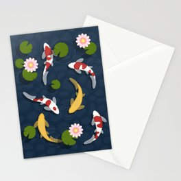 Japanese Koi Fish Pond Stationery Cards