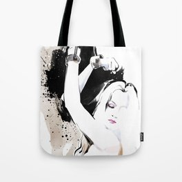 Beauty portrait, Woman slave handcuffs, Nude art, Black and white, Fashion painting Tote Bag