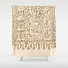 Sepia Macramé Arrowhead Chenille Lace Pattern Shower Curtain