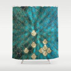 Multicolor aqua and gold mermaid scales - Beautiful abstract pattern Shower Curtain