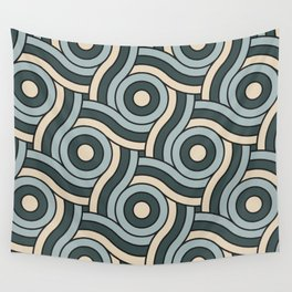 Night Watch, Alpaca Wool and Blue Willow Circle Swirl Pattern Wall Tapestry
