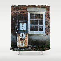 pocket fuel Shower Curtains featuring Fuel by 100 Watt Photography
