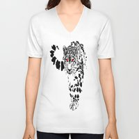 snow leopard V-neck T-shirts featuring Snow Leopard by Shahbab