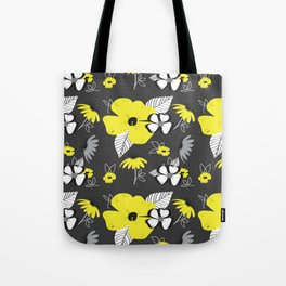 Yellow and Black Drawn Flowers on Gray Tote Bag