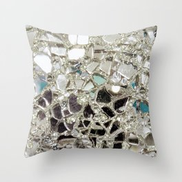 An Explosion of Sparkly Silver Glitter, Glass and Mirror Throw Pillow