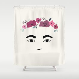 Frida with flowers Shower Curtain