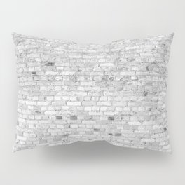 White Washed Brick Wall - Light White and Grey Wash Stone Brick Pillow Sham