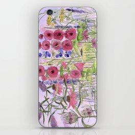 Watercolor Wildflower Garden Flowers Hollyhock Teasel Butterfly Bush Blue Sky iPhone Skin