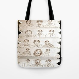 15 men,drawing on cardboard Tote Bag