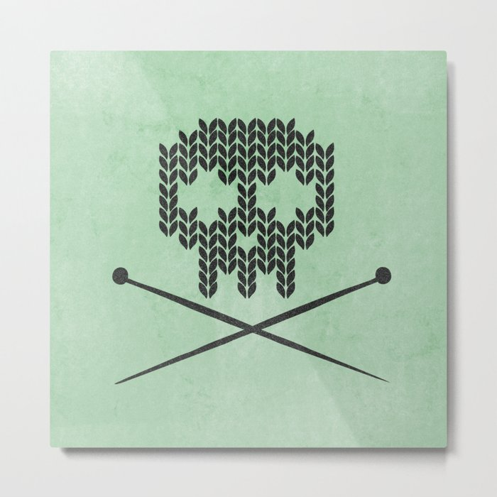 Knitted Skull (Black on Mint) Metal Print