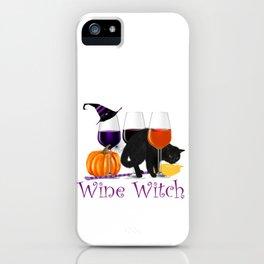 Wine Witch Black Cat Halloween iPhone Case