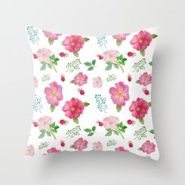 Botanical pink country roses hip floral pattern Throw Pillow