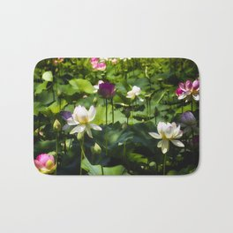 Blooming Lotus Flowers Outdoors Bath Mat