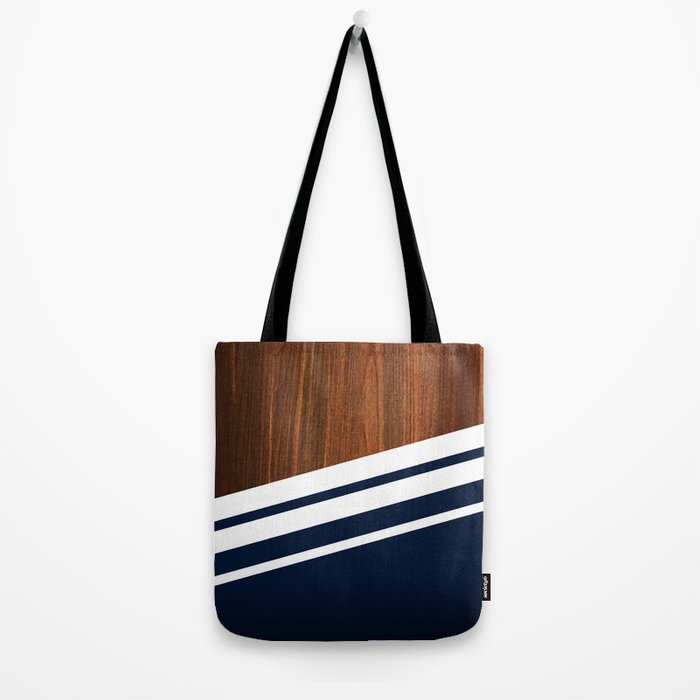 Wooden Navy Tote Bag