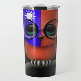 Baby Owl with Glasses and Taiwanese Flag Travel Mug