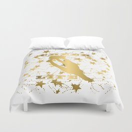 Cheer Life Design in Gold with Stars Duvet Cover