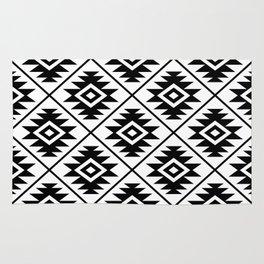 Aztec Symbol Pattern Black on White Rug