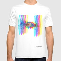 TIE Fighter Star Glitch Wars White MEDIUM Mens Fitted Tee