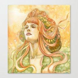 Girl In Orange Wind Canvas Print