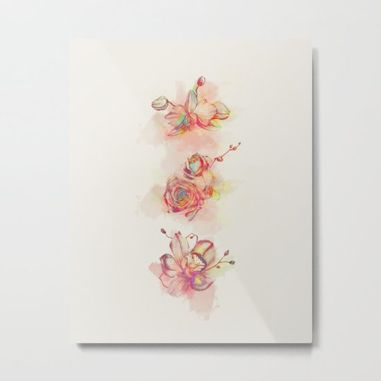 Roses & Orchids Metal Print