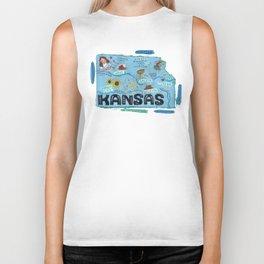 KANSAS map Biker Tank