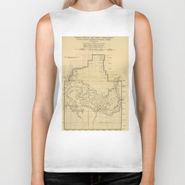 Vintage Map of The Grand Canyon (1908) Biker Tank