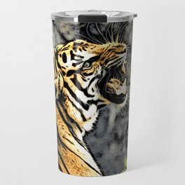 Tiger roar Woodblock Style Travel Mug