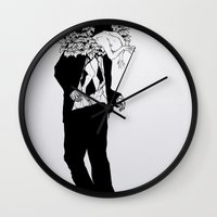 home sweet home Wall Clocks featuring home sweet home 01 by Tom Kitchen