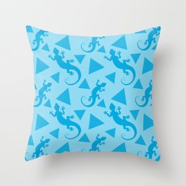 Wild crawling lizards, geometric triangle shapes whimsical ethnic tribal retro vintage warm pastel blue abstract pattern. Gift ideas for geometry and animal lovers. Herpetology. Throw Pillow