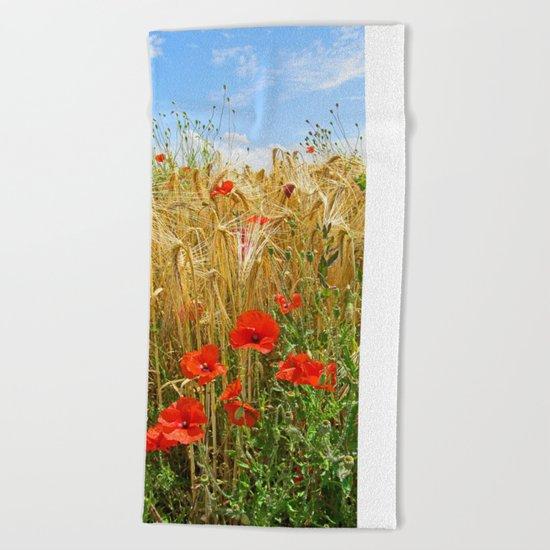 Poppy in a wheatfield Beach Towel