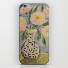 Peony in Blue Willow Vase iPhone Skin