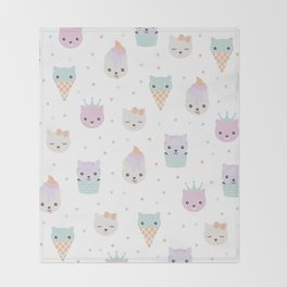 Kawaii breeze summer kitty cupcake cats and snow one ice cream kittens Throw Blanket
