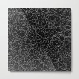 Black and White Ink Pen Lines Soap Bubbles Pattern Metal Print