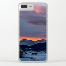 Cold Morning, Fiery Sunrise. Colorado Winter. Clear iPhone Case