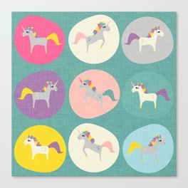 Cute Unicorn polka dots teal pastel colors and linen texture #homedecor #apparel #stationary #kids Canvas Print