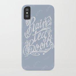 Rain, Tea & Books - White lettering only iPhone Case