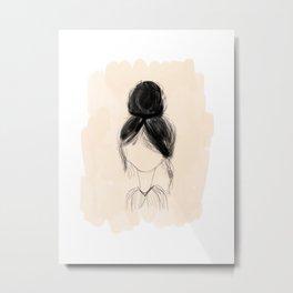 Messy Bun - soft peach hand drawn art Metal Print