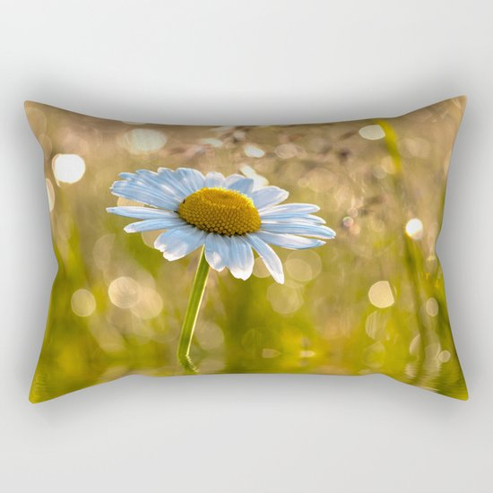 Floral Daisy Flower Flowers in a meadow after rain on #Society6 Rectangular Pillow